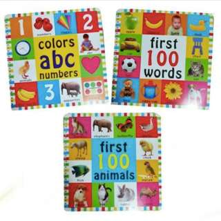 First 100 Books (Animals, Colors/ABC/Numbers, Words)