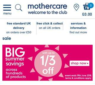 MOTHERCARE SUMMER SALE PREORDER UNTIL 30th June 2018