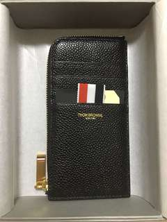Thom Browne zipped wallet cardholder leather calf black