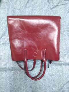 Italian Leather Handbag (Red)