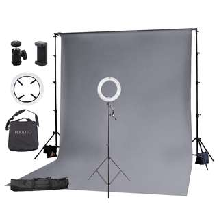 """Fodoto 13"""" Diva Ring Light + Grey Background & Stand"""