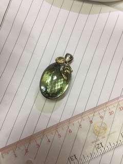 收藏级 紫绿晶 925 全新银吊坠 不议价