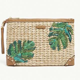 MICHAEL MICHAEL KORS Leaf embroidered straw clutch bag