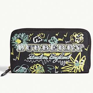BURBERRY Spring flowers canvas zip-around wallet
