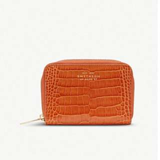 SMYTHSON Mara crocodile-printed calf leather zip coin purse