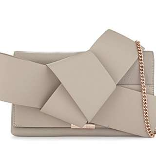 TED BAKER Asterr bow leather clutch bag