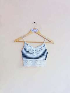 TOPSHOP Blue/White Stripes Coachella Bralette Crop Top