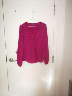 Suzy Shier magenta chiffon top SMALL