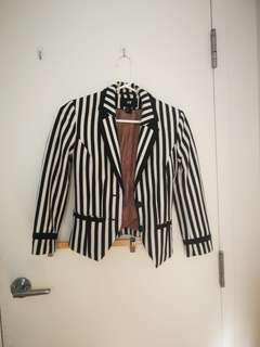 H&M White/Navy Stripe Blazer size 2
