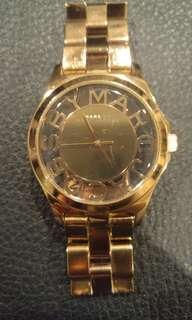 Marc jacob skeleton rose gold watch