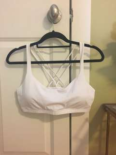white strappy sports bra