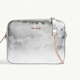 TED BAKER Camouflage-print metallic leather camera bag