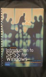 Introduction to SPSS for windows IBSN:9780733989834