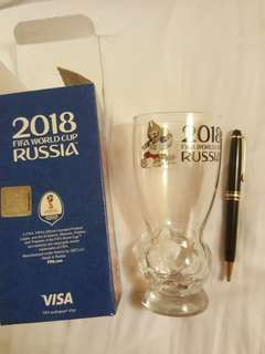 FIFA World Cup 2018 Russia glass with the image of OFFICIAL mascot wolf Zabivaka