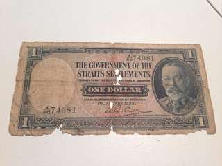 Straits settlements one dollar 1935