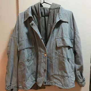 Light Ue Denim Jacket with Hoodie