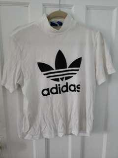 Adidas Mock Neck White Tee.
