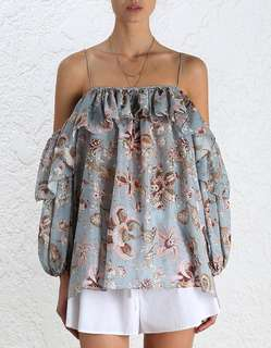 Zimmermann printed floral off shoulder silk ruffle top