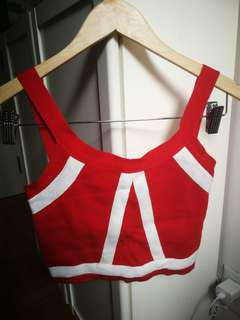 Small crop top red/white