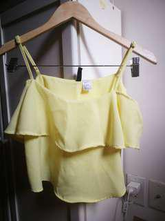H&M yellow crop chiffon top size 2