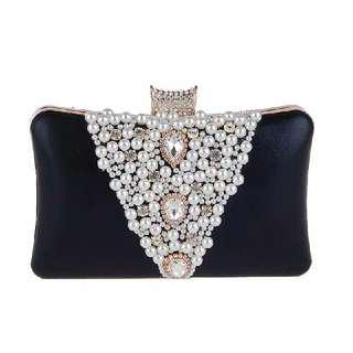 👛  Pearly Rhine Stone Black Party Clutch 👛