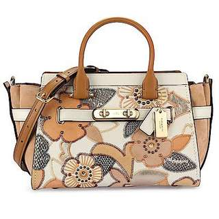 Coach Swagger 27 With Patchwork Tea Rose And Snakeskin