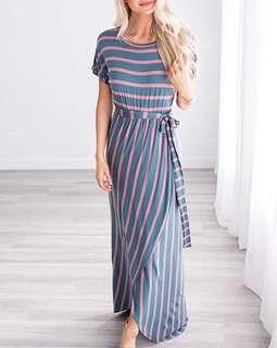 Round Neck Stripes Maxi Dress 101610 FM