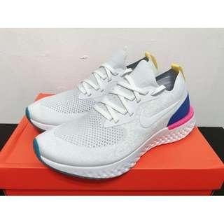 🚚 [老司機]Nike Epic React FlyKnit 白彩虹 藍粉 襪套 慢跑 休閒 情侶鞋