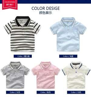 🚚 (歐美風格)男童短袖T卹棒球衫童裝新款寶寶夏裝無袖上衣兒童翻領體恤