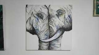 PAINTING ARTWORK - Les éléphants