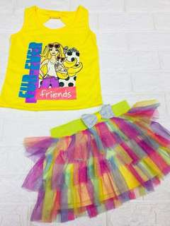 Barbie Top Sando Tutu Skirt Palda Set