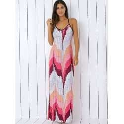 Printed Pattern Summer Long Slip Dress TG