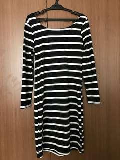 Stripes Black & White Dress Long Sleeve
