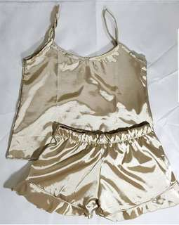 Lux Silk Spags With Ruffle Short Set (Wheat Brown)