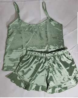 Lux Silk Spags With Ruffle Short Set (Russian Green)