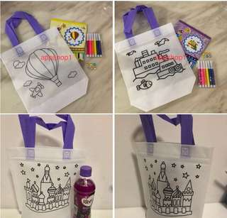 DIY coloring hand carry bag- children party games, goody bags gift, goodies bag packages