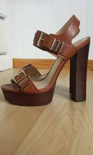 Forever New Stacked Tan Heels