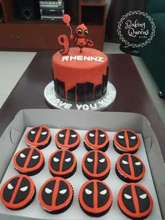 Deadpool Cake with 12 pcs Cupcake