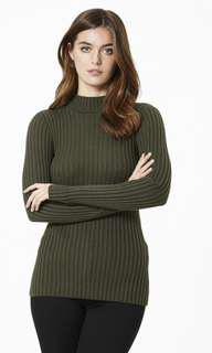Forever New Dark Khaki Rib Knit High Neck