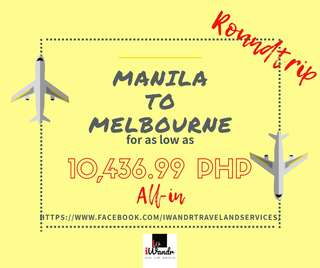 MANILA TO MELBOURNE ROUNDTRIP ALL-IN (AIR FARE ONLY)