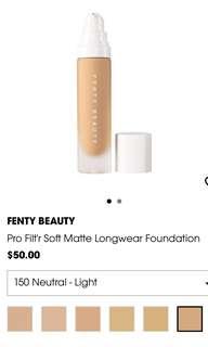 Fenty Beauty Pro Filt'r Soft Matte Longwear Foundation Shade 150 Neutral Light