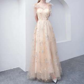 Champaign moon design dress / evening gown / Wedding Gown