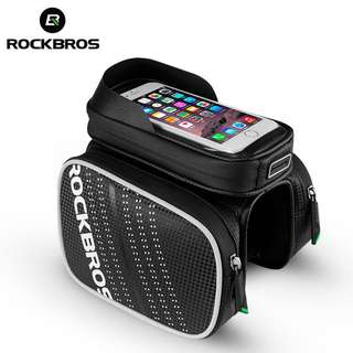 Bicycle Front Frame Top Tube Bag Waterproof TPU Touch Screen MTB Road Bike Bags Cell Phone Bicycle Cycling Bag - ROCKBROS 6.2 Inch