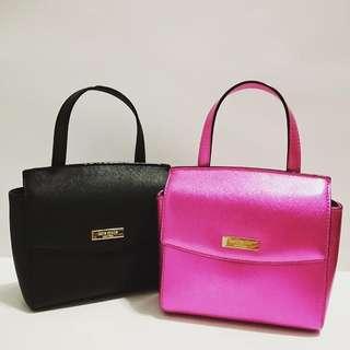 KS Alisanne Crossbody Black - Bajarose Pink sz 21x16x9