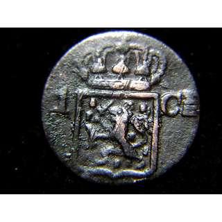 1839年荷屬東印度荷皇家國徽1仙老銅幣
