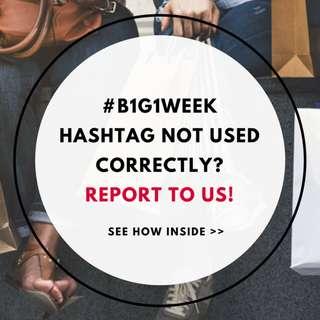 Report Violations: Buy 1 Get 1 Weekend