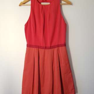 Cue ladies pink two tone dress - size 12