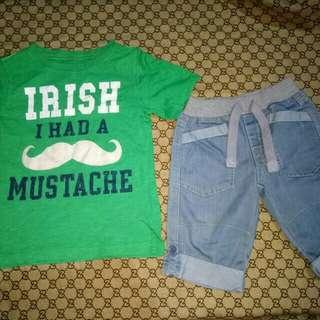 Carter's Top &Denim Shorts (Size 3-4y/o)