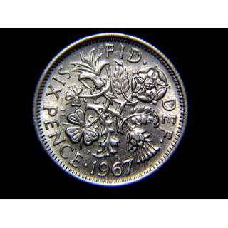 1967年英國四王國國花6便士(Pence)鎳幣(英女皇伊莉莎伯二世像, 好品)
