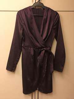Missguided purple satin wrap dress